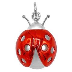Ladybug or Ladybird 18 Karat Red White Gold Australian Pearl Pendant Necklace