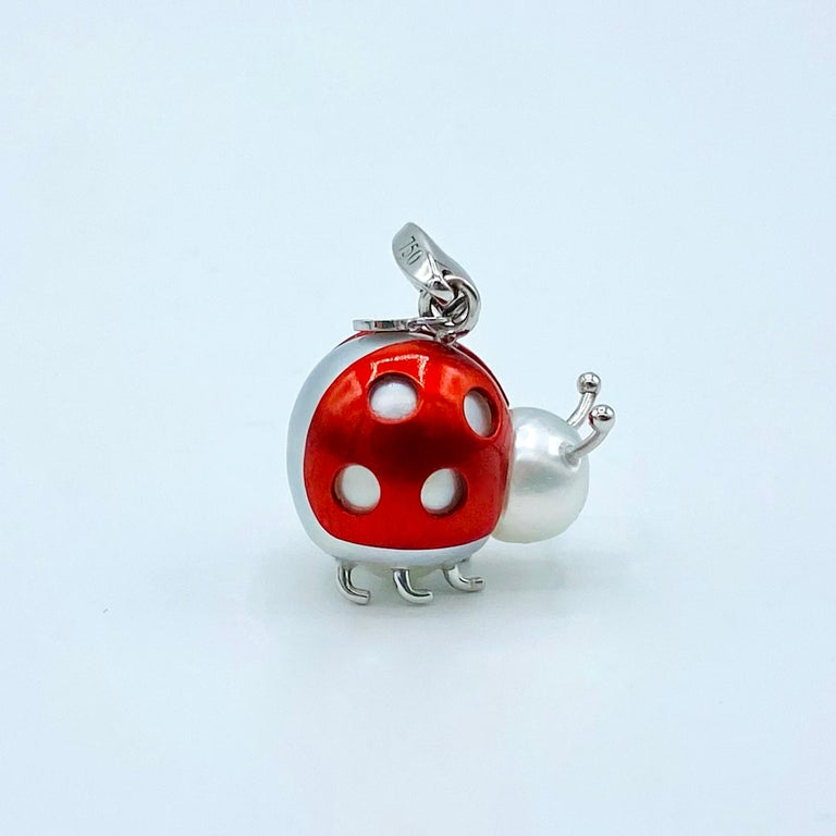 Ladybug or Ladybird 18 Karat Gold Australian Pearl Pendant Necklace or Charm For Sale 6