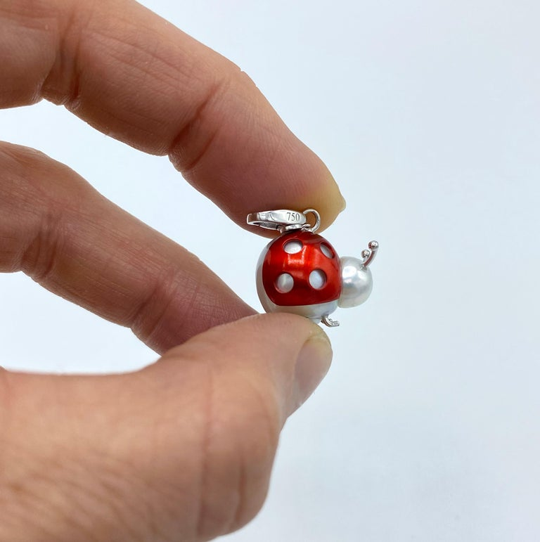 Ladybug or Ladybird 18 Karat Gold Australian Pearl Pendant Necklace or Charm For Sale 8