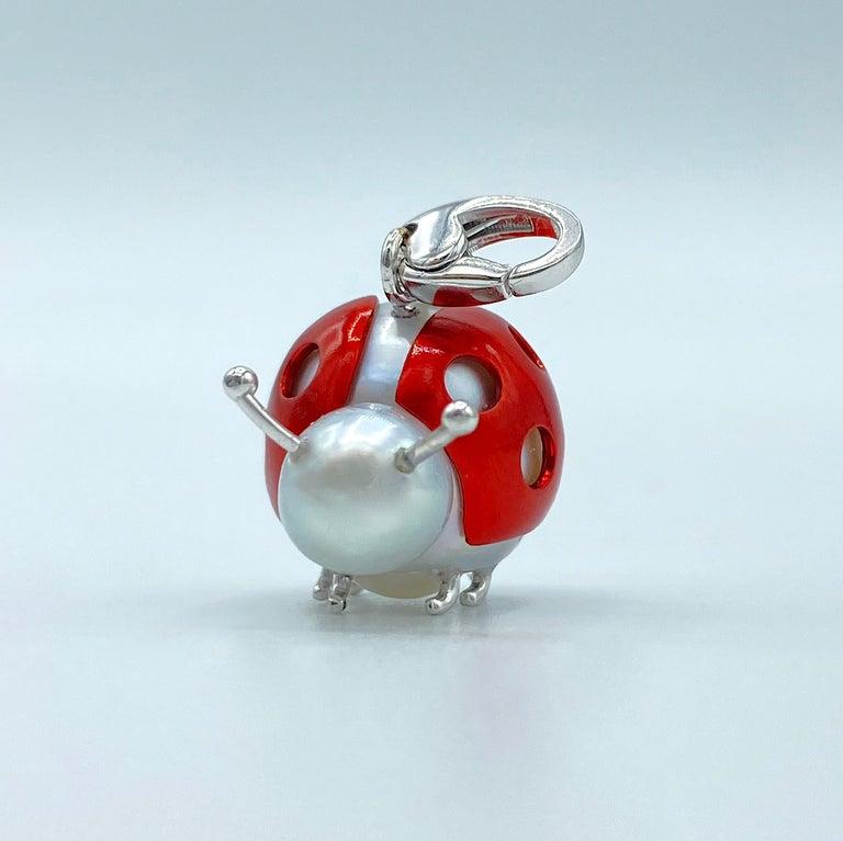 Artisan Ladybug or Ladybird 18 Karat Gold Australian Pearl Pendant Necklace or Charm For Sale