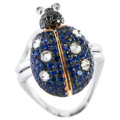 Ladybug Ring with Moving Parts Sapphires 1.73 Carat and Diamonds 1.18 Carat
