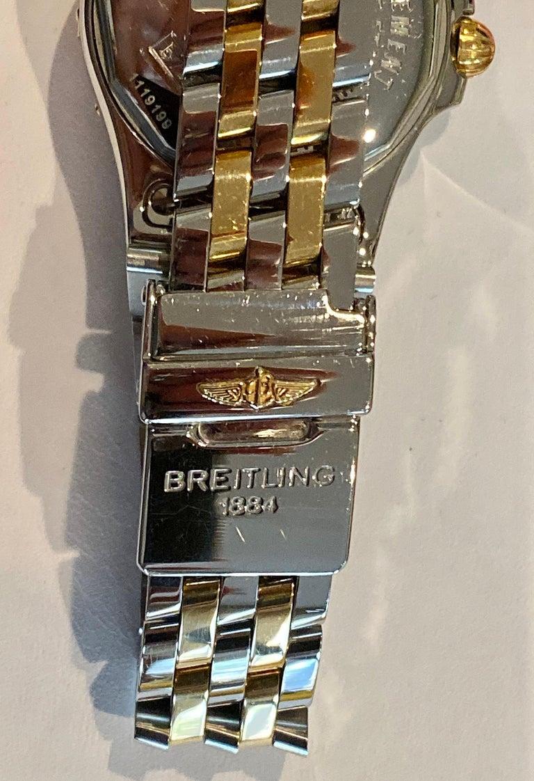 Women's Ladies Breitling Mother of Pearl Diamond Dial Steel and 18 Karat Pilot Bracelet For Sale