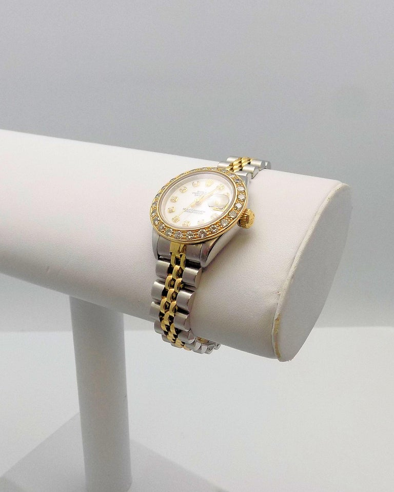 Round Cut Lady's Diamond Rolex Wrist Watch with Mother-of-Pearl Dial For Sale