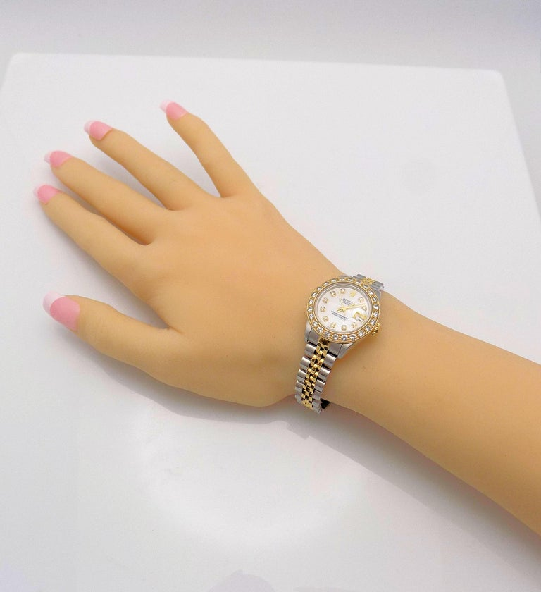 Women's Lady's Diamond Rolex Wrist Watch with Mother-of-Pearl Dial For Sale