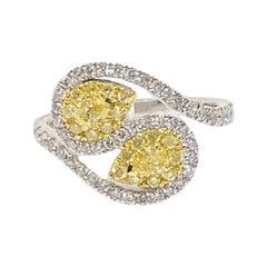 Lady's Fancy Yellow Pear Diamond Swirl Fashion Ring 14k Tt 1.03 Ctw