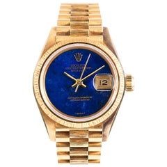 Lady's Rolex Datejust with Bark Finish and Lapis Lazuli Dial