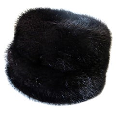 Lady's Vintage Black Mink Hat by I. Magnin & Co. Circa 1965