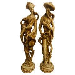 Large Vitange Chinese Male and Female Sculpture