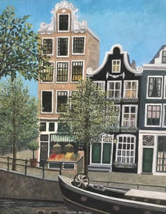 ''Shop along the Canal'' Cosy Dutch Painting of Canal Houses