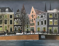 ''Snow on the Canal'' Cosy Dutch Painting of a Canal on a Winter Day