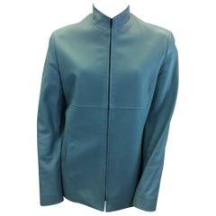 Lafayette 148 Turquoise Leather Jacket