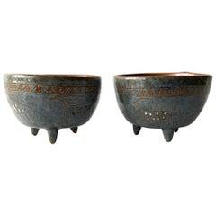 LaGardo Tackett Architectural Pottery Pair of Candleholders with Hieroglyphics
