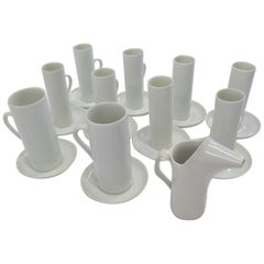 LaGardo Tackett 'Tack' Modern Grouping of White Cups and Saucers Plus Creamer