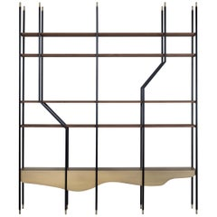 Lage Bookcase Matt Walnut Veneer Dark Oxidized Brass Metal Black Lacquered