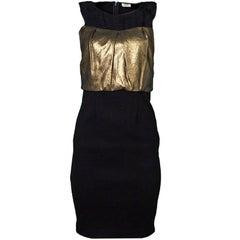 L'Agence Black & Gold Lame Leather Sleeveless Dress Sz 2