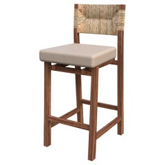 Lago Bar Stool with Natural Palm Fiber Back, Contemporary Mexican Design
