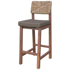 Lago Counter Stool with Natural Palm Fiber Back, Contemporary Mexican Design