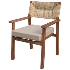 Lago Dining Armchair with Natural Palm Fiber Back, Contemporary Mexican Design