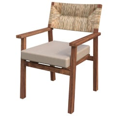 Lago Dining Chair with Armrest Natural Palm Fiber Back, Mexican Design