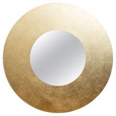 Lago Dorato Vignelli Gold Leaf Round Mirror Italian Vintage
