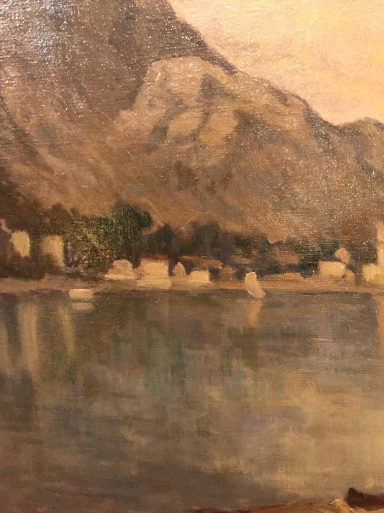 Italian 19th Century large Landscape Painting Lago Maggiore Isola dei Pescatori  For Sale 5