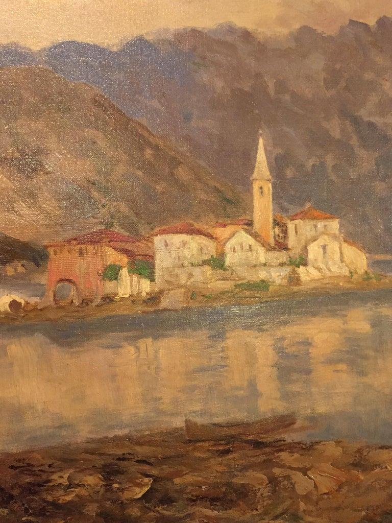 Italian 19th Century large Landscape Painting Lago Maggiore Isola dei Pescatori  For Sale 6