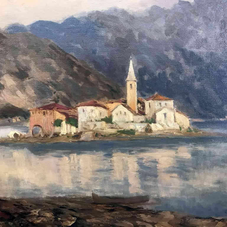 Unframed oil on canvas Lake Landscape depicting Italian Lake Maggiore view of the Isola dei Pescatori, Fishermen Island, Lago Maggiore, Italy signed lower right E. Gignous, apocrypha signature. The painting composition is realized in the style of