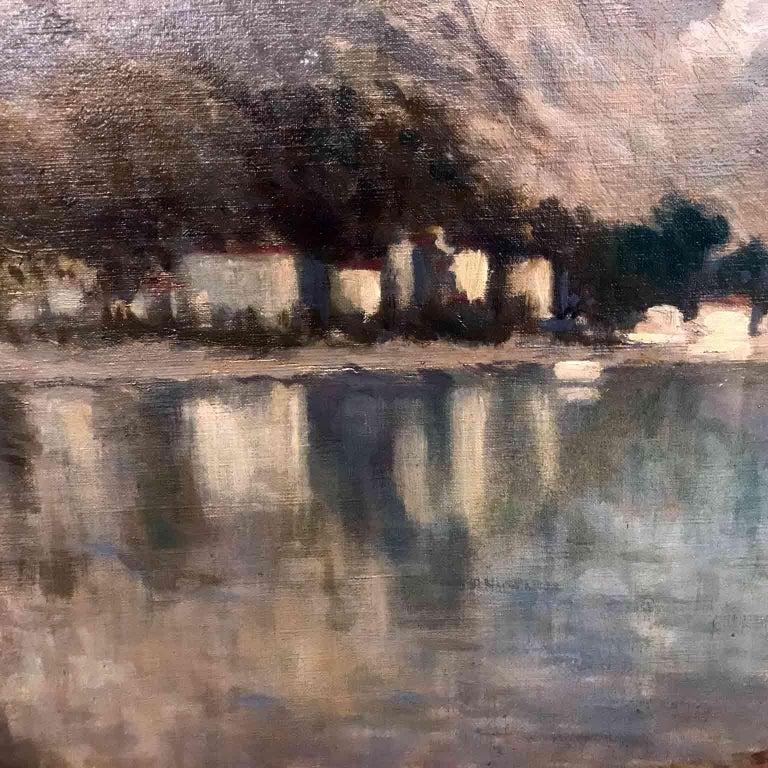 Italian 19th Century large Landscape Painting Lago Maggiore Isola dei Pescatori  In Good Condition For Sale In Milan, IT