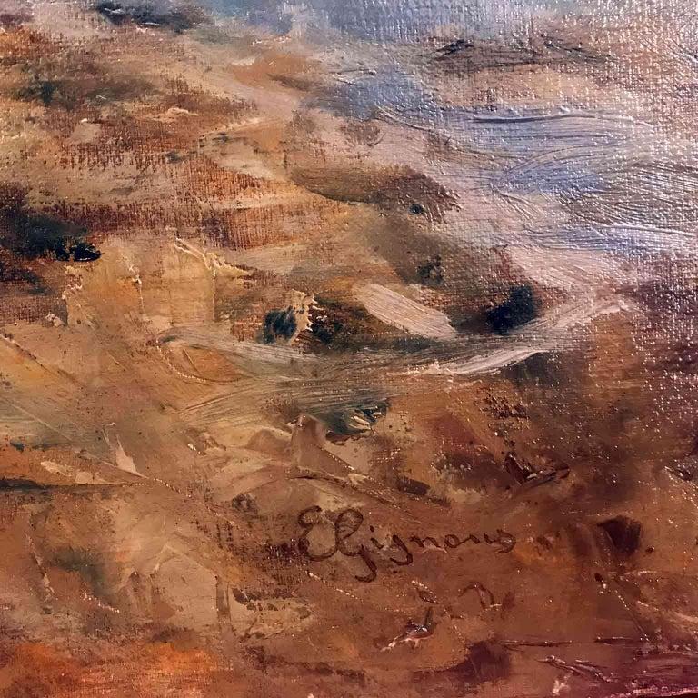Canvas Italian 19th Century large Landscape Painting Lago Maggiore Isola dei Pescatori  For Sale