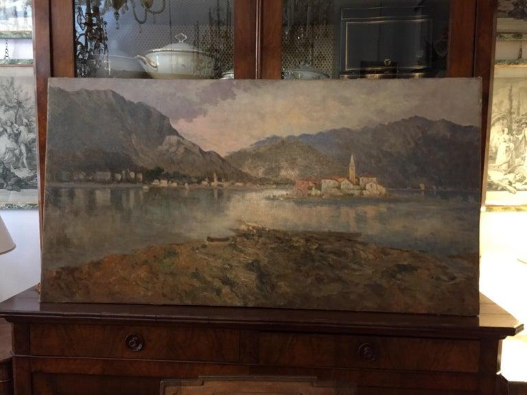 Italian 19th Century large Landscape Painting Lago Maggiore Isola dei Pescatori  For Sale 2