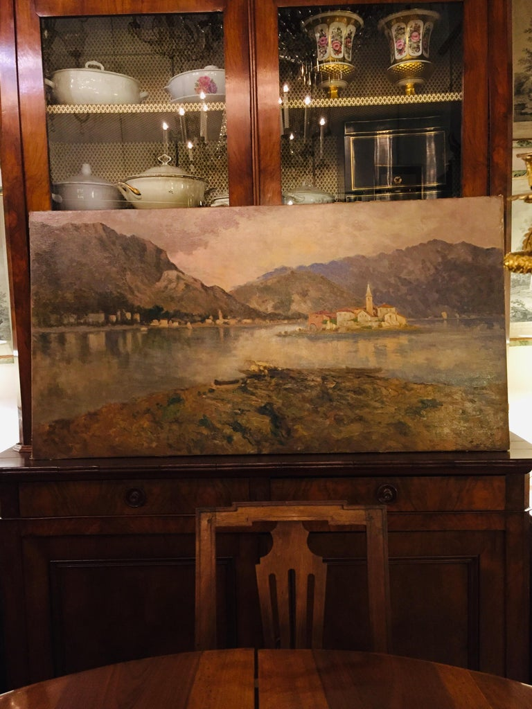 Italian 19th Century large Landscape Painting Lago Maggiore Isola dei Pescatori  For Sale 3