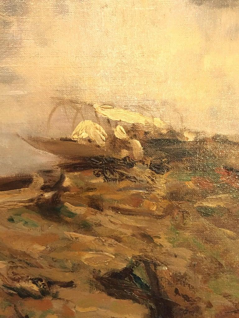 Italian 19th Century large Landscape Painting Lago Maggiore Isola dei Pescatori  For Sale 4