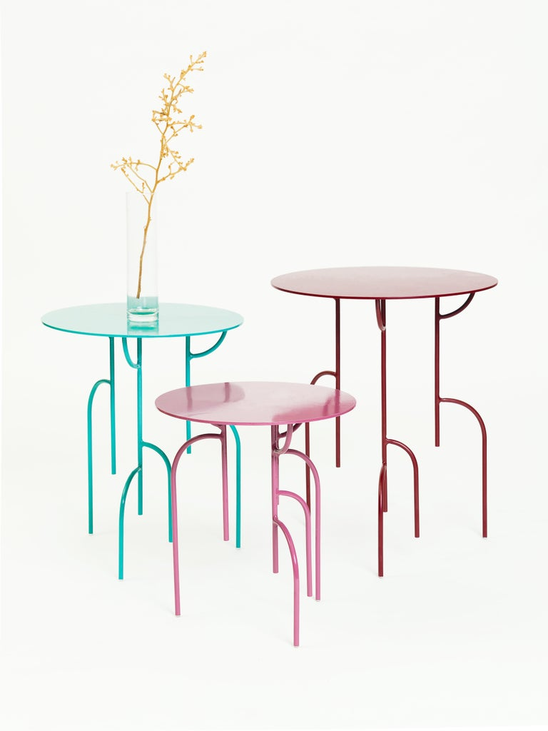 The Lagoas tables and lamp are inspired by the nature, it is an allusion to the mangrove trees and the way it deeps into the water.  The legs design plays with the senses of the observer by distorting the perspective and sense of distance. It is