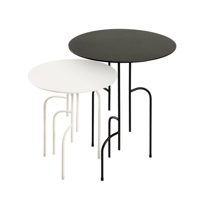 Steel Lagoas Accent Side Round Table For Sale