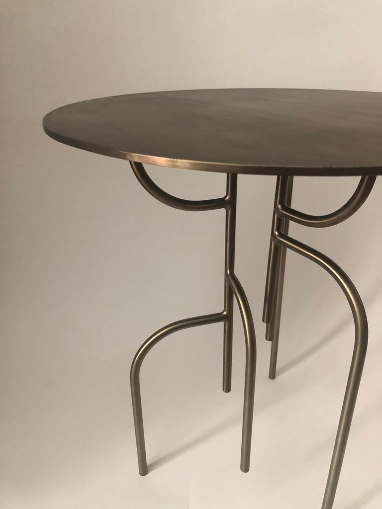 Oiled Lagoas Accent Side Round Table