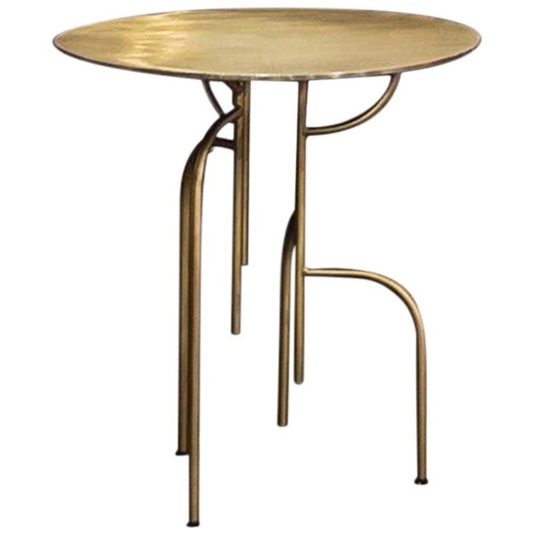"Lagoas Accent Side Round Table ""Old Gold"" Finish 'Small' by Filipe Ramos For Sale"