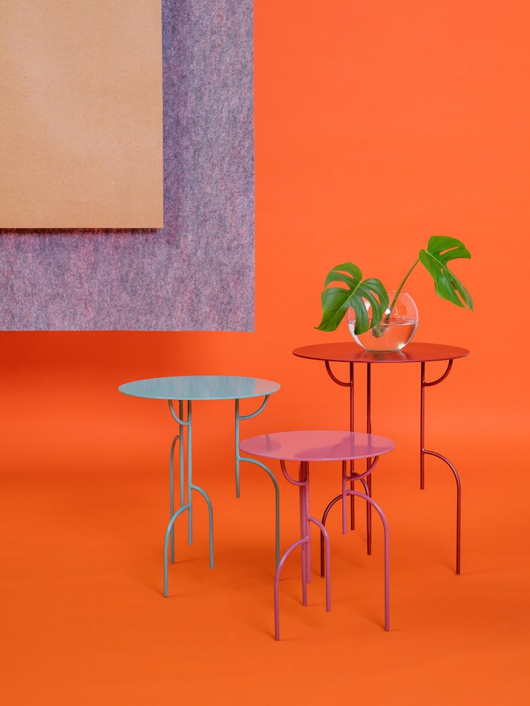 Post-Modern Lagoas Accent Side Round Tables, 'Set of Three' For Sale