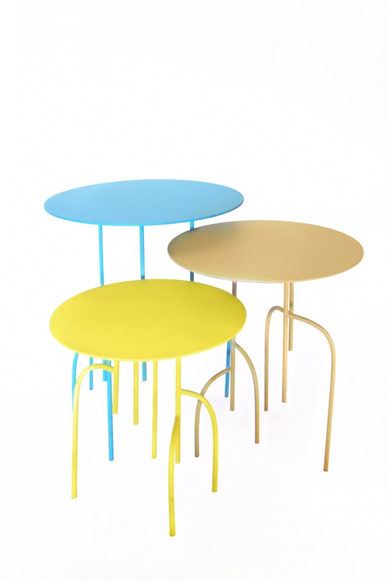 Contemporary Lagoas Accent Side Round Tables, 'Set of Three' For Sale
