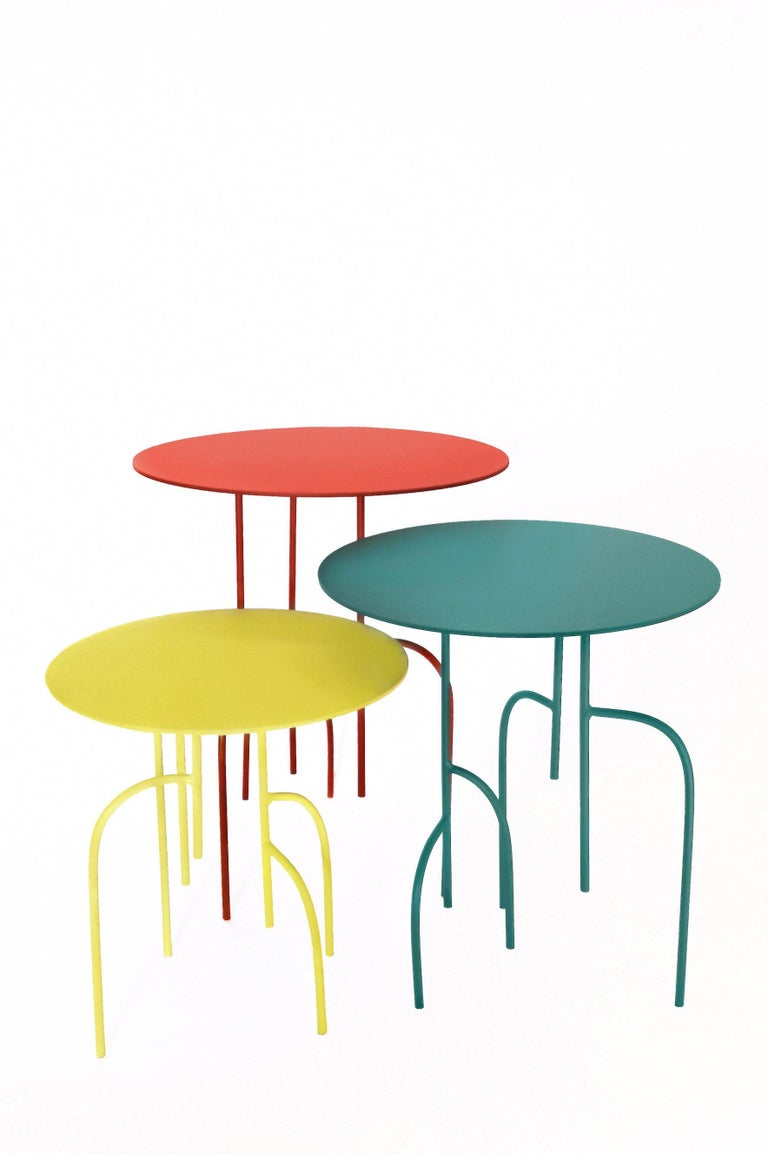 Steel Lagoas Accent Side Round Tables, 'Set of Three' For Sale