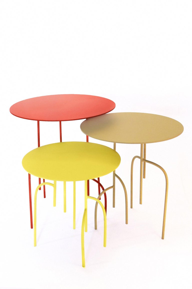 Lagoas Accent Side Round Tables, 'Set of Three' For Sale 1