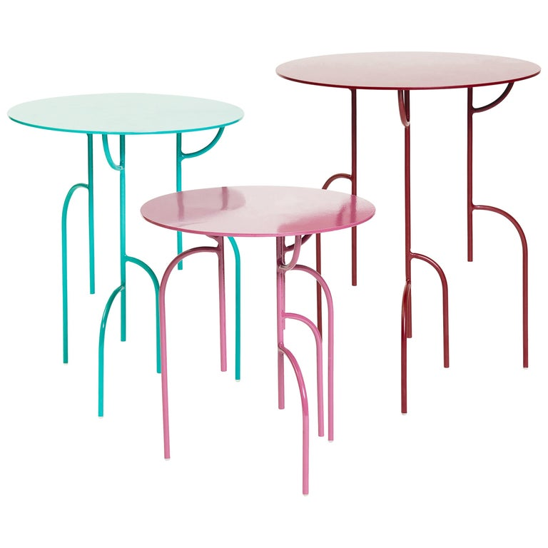 Lagoas Accent Side Round Tables, 'Set of Three' For Sale
