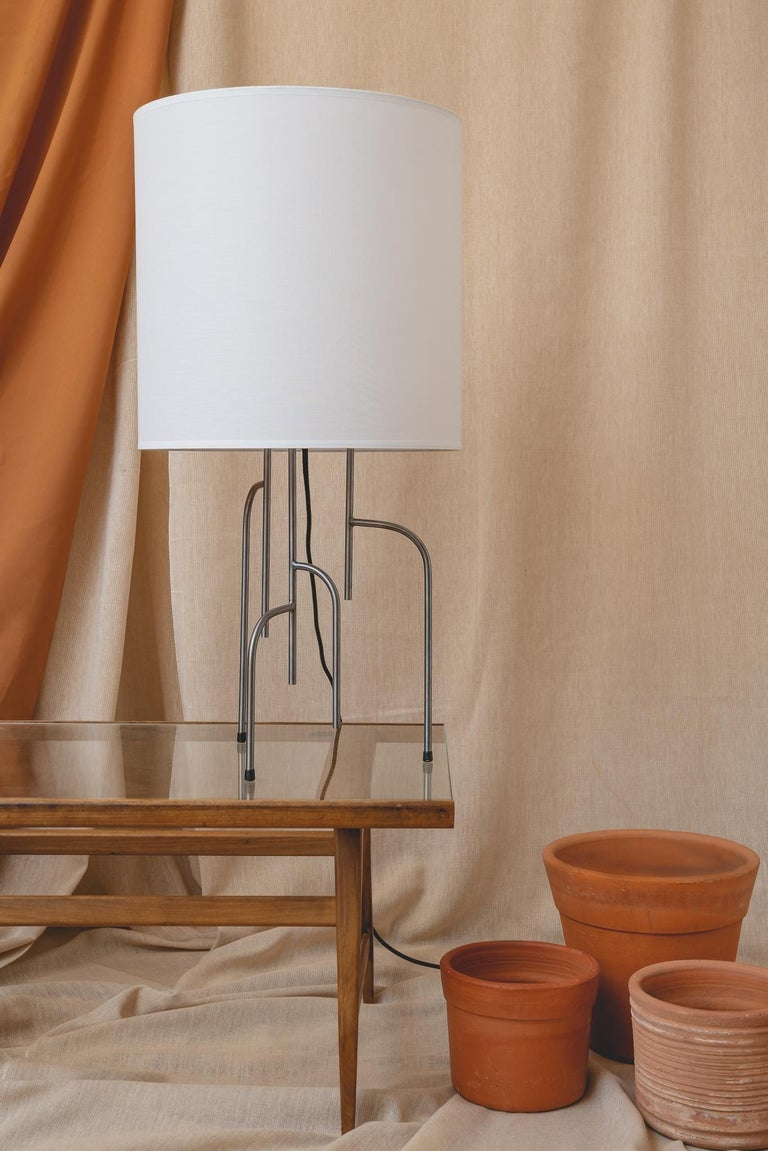 Steel Lagoas Table Lamp, Oil-Rubbed Dark Gray by Filipe Ramos For Sale
