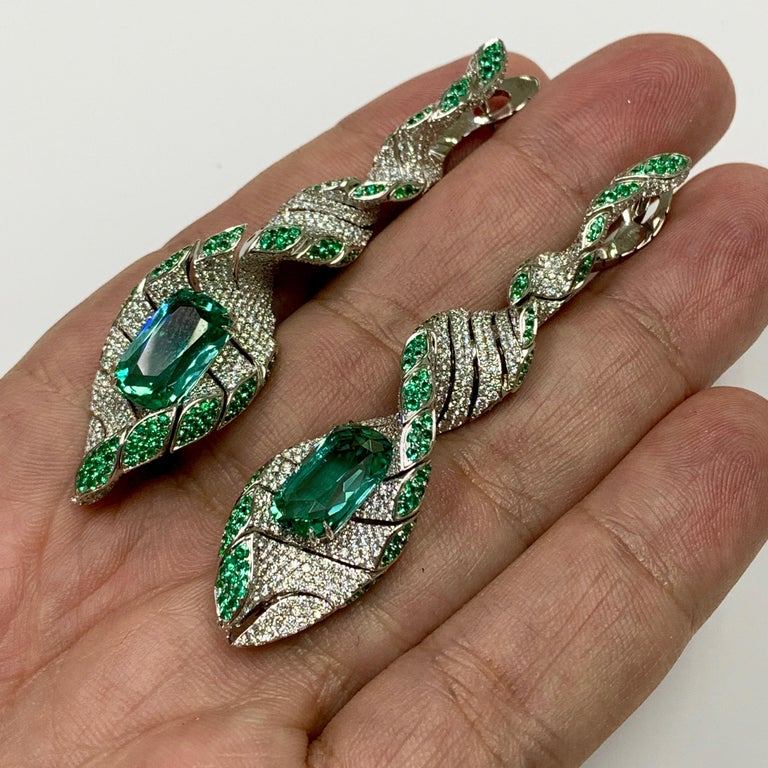 Cushion Cut Lagoon Tourmaline Diamonds Emeralds 18 Karat White Gold DNA Earrings For Sale