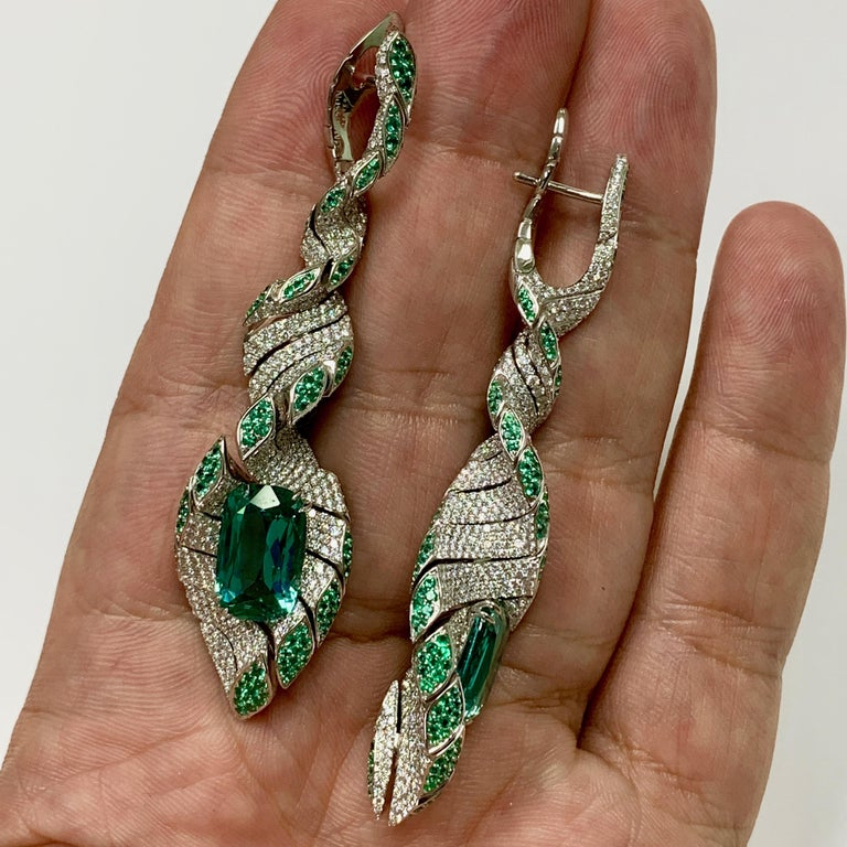 Lagoon Tourmaline Diamonds Emeralds 18 Karat White Gold DNA Earrings In New Condition For Sale In Bangkok, TH