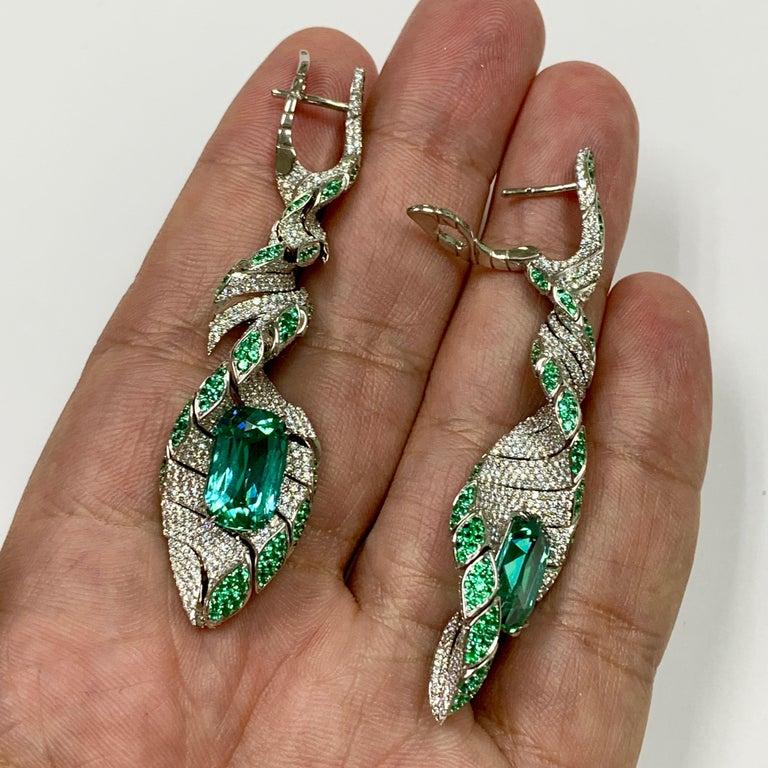 Women's Lagoon Tourmaline Diamonds Emeralds 18 Karat White Gold DNA Earrings For Sale