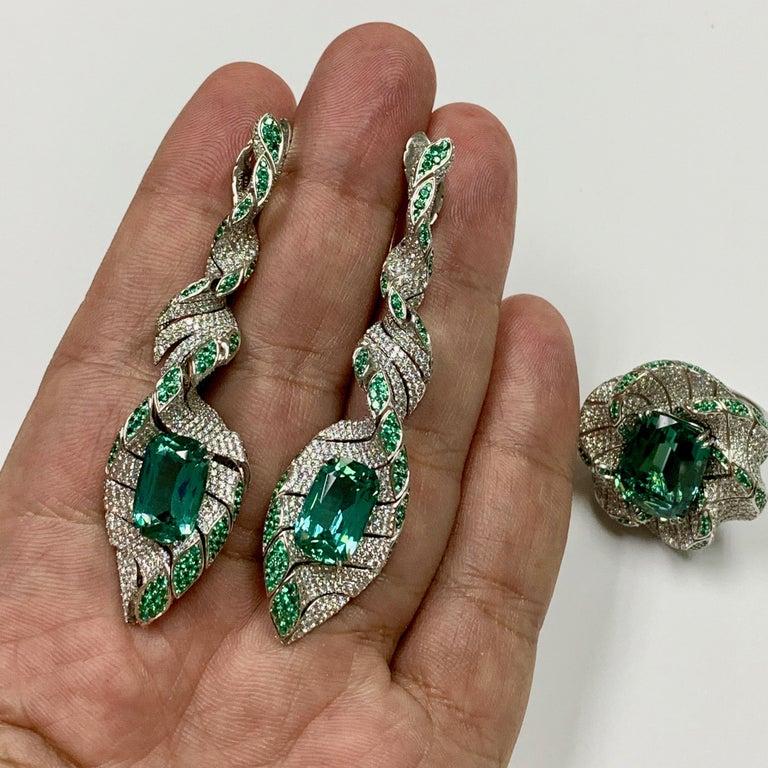 Lagoon Tourmaline Diamonds Emeralds 18 Karat White Gold DNA Earrings For Sale 1
