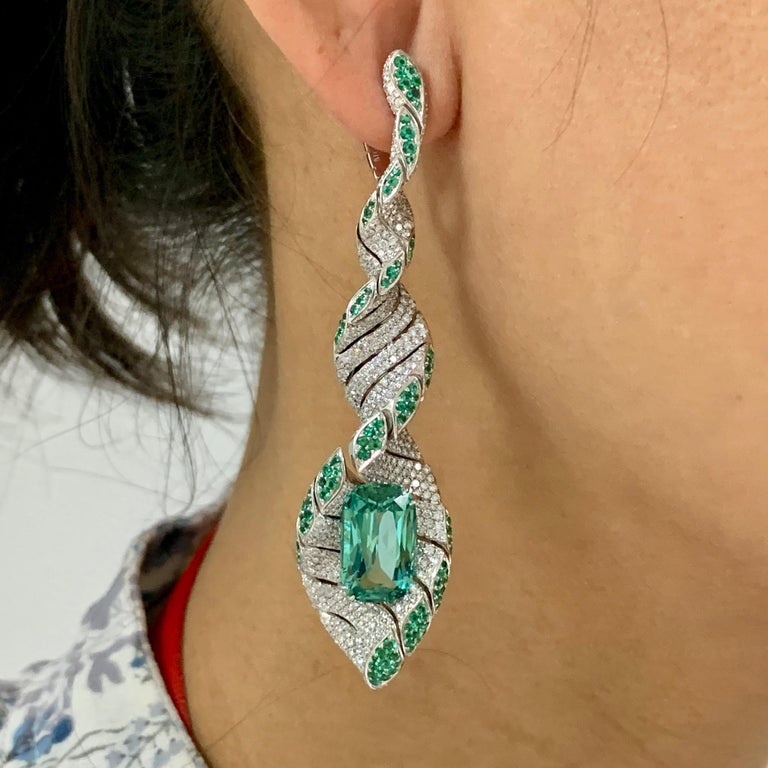 Lagoon Tourmaline Diamonds Emeralds 18 Karat White Gold DNA Earrings For Sale 2