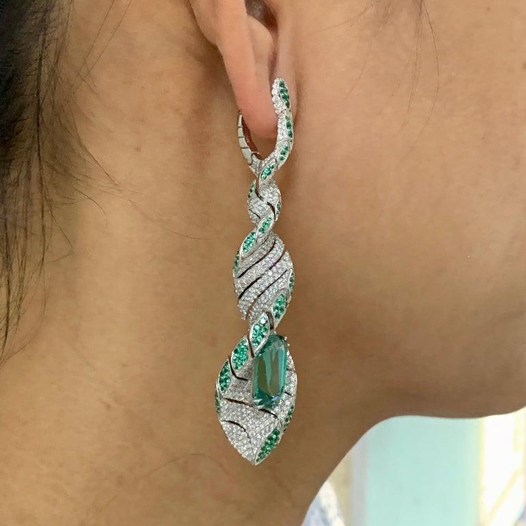 Lagoon Tourmaline Diamonds Emeralds 18 Karat White Gold DNA Earrings For Sale 3