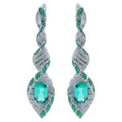 Lagoon Tourmaline Diamonds Emeralds 18 Karat White Gold DNA Earrings
