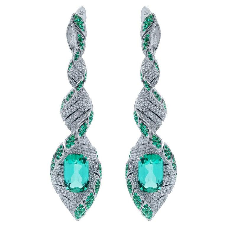 Lagoon Tourmaline Diamonds Emeralds 18 Karat White Gold DNA Earrings For Sale